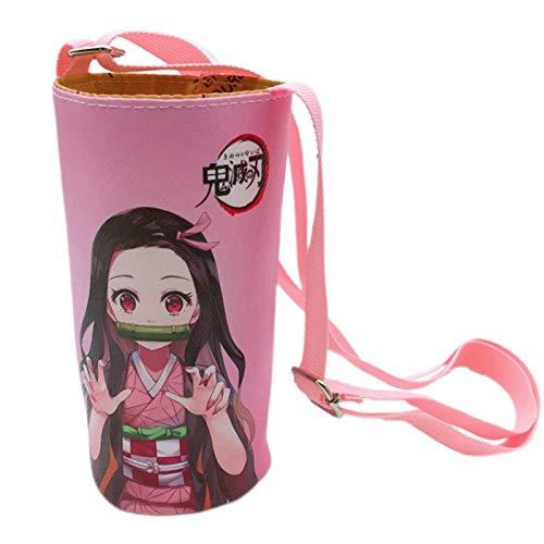 cluis Bolsa de botella de agua de dibujos animados anime Demon Slayer para botella de agua, soporte para botellas de agua con correa ajustable para el hombro para niños y estudiantes (estilo 05)
