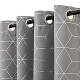 jinchan Silver Solid Diamond Foil Print Grommet Top Blackout Curtain Grey Soft...
