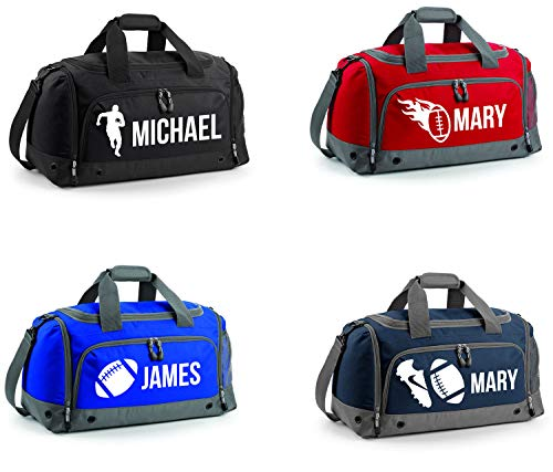 PROSPO Personalisierbare Rugby-Reisetasche für Kinder, Schule, PE, lindgrün, 4- Shoe and Ball with Name
