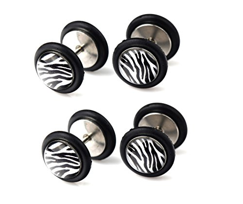 BODYA 4pcs 316l Chirurgische Stahl Zebras print Design Faux Expander Plugs Barbell Bolzen Ohrring Fake Punk 18 Gauge