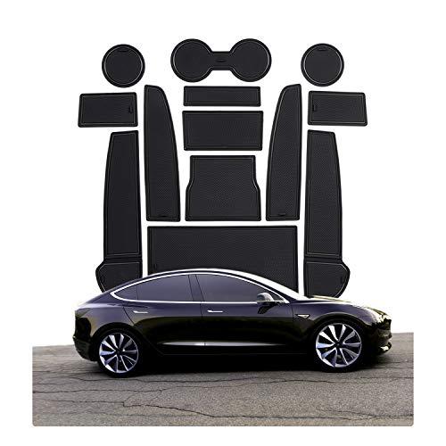 CDEFG para Tesla Model 3 Coche Accesorios Antideslizante Copa Mats Anti Slip Puerta Ranura de Acceso Kit de la Estera del cojín de la Ranura decoración de Interiores (Negro)
