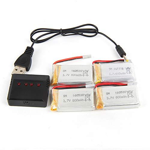 Batería de polímero de litio de repuesto para dron X5c/x5sw/x5/L15, 3,7 V, 800 mAh, batería de polímero de litio de alto rendimiento con cargador 4 en 1 y cable USB, 4 unidades