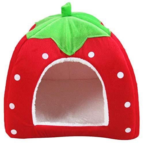 Balacoo Hund Katze Bett Erdbeer-Bett Innen Betten Erdbeere Zelt für Katze Hund (rot Größe s)