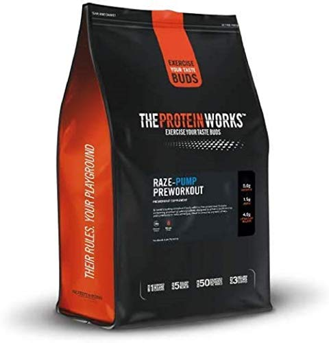 The Protein Works RAZE-Pump Preworkout Powder, Caffeine free, Beta Alanine, Creatine Monohydrate, 2:1:1 BCAAs, Green Apple Kick, 10 Servings, 250 g
