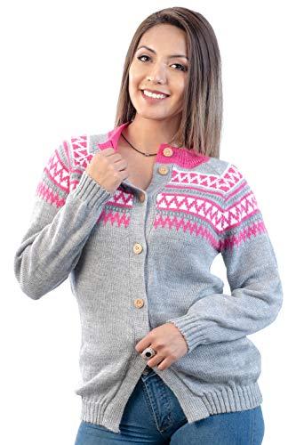 Intialpaca Light Gray vest trui voor vrouwen - gebreid in zachte Alpaca wol
