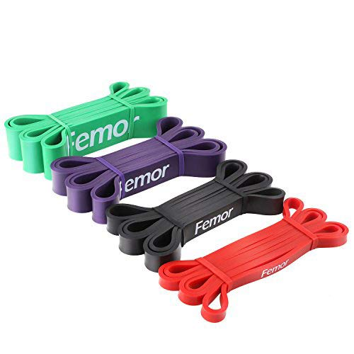 Femor Resistance Exercise Bands, Workout Bands Pull Up Assist Bands for Body Stretching, Powerlifting, Resistance Training (Set of 4)