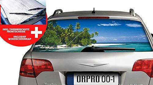 CAR-CHARISMA ORPRO Heckscheibenfolie Bedruckt ca 144x75cm, UV- und Sonnenschutz für die Heckscheibe Baby und Kind (Strandmotiv)
