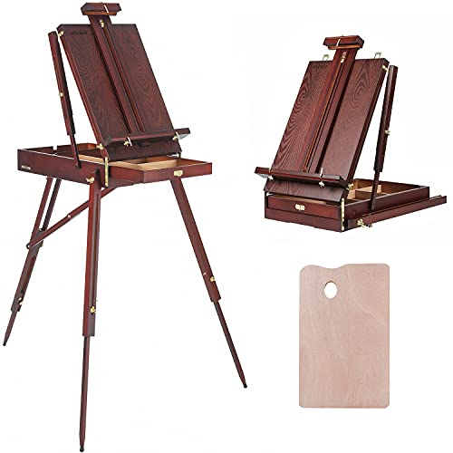 MEEDEN French Easel,Beech Wood Sketch Easel Box with Foldable Legs,Drawer Storage and Palette Tray,Portable Artist Easel for Outdoor Painting,Tripod Easel Stand for Sketching,Displaying