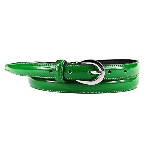 MYB Cintura Donna in vernice - Vera Pelle Made In Italy - 20 mm - diversi colori e taglie disponibili (85-100 cm, Verde)