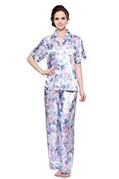 Lavenderi Women s Short Sleeve Classic Satin Pajama Set(Small,Blue Floral Print