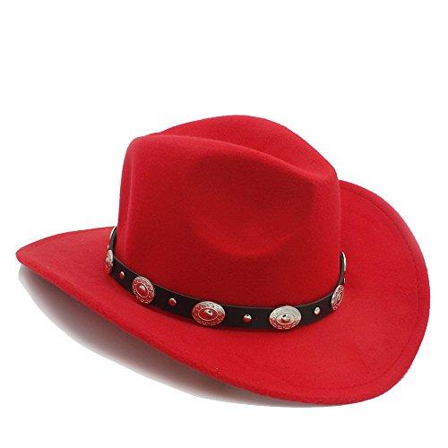 LQ-BNM Panamahut - vintage dameshoed, heren-Western-cowboyhoed, cowboy-jazhoed, brede kremperige lederen hoed, 57-58 cm