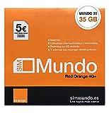 Orange Spain - Tarjeta SIM Prepago 35 GB en España | 5€ de saldo | 5.000 Minutos Nacionales | 50 Minutos internacionales | Activación Online Solo en www.marcopolomobile.com