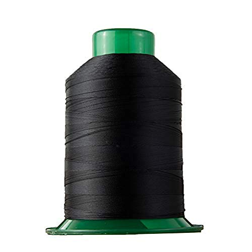 Bonded Polyester Sewing Thread 1750 Yard High Strength Sewing Thread 150D/3 for Sewing Awnings, Tents Industrial, Home Textile, Leather Goods, Footwear, Luggage, Shoes, Car Mats, Upholstery Black
