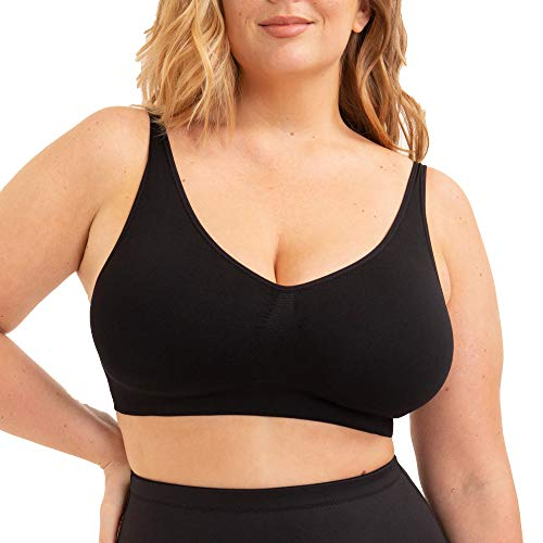 SHAPERMINT Women's Compression Seamless No Wire Scoop Neck Throw-on Bralette
