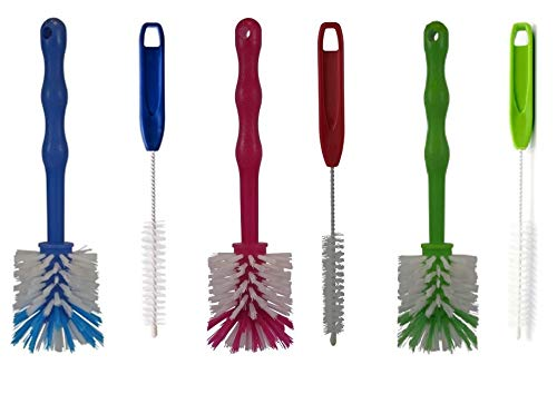 HG Verlag - (6er Reinigungsset Spülbürsten Ideal für den Thermomix TM5 TM6 TM31 sowie Mixertöpfe usw. (2X rot / 2X grün / 2X blau)