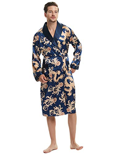 Haseil Men's Satin Robe Dragon Chinese Silk Spa Long Sleeve House Kimono Bathrobe, Royal Blue, Tagsize2XL=USsizeL