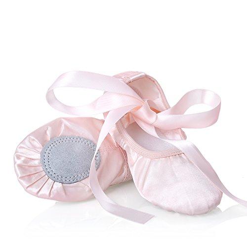 Mädchen Ballett-Tanzschuhe mit geteilter Sohle mit Satin-Hausschuhen BA01-Pink 1-25 EU