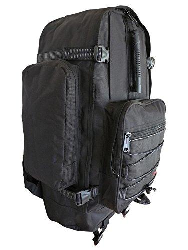 Großer Frontlader Backpacker Camping Rucksack - 50 bis 55 Liter L Volumen – Flugzeug Handgepäck geeignet - für Backpacking, Festival, Reise, Outdoor und Wandern - Roamlite RL55M (Schwarz)
