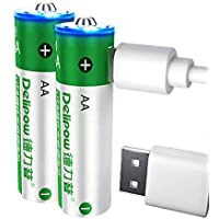 2-Pack Delipow AA 1.5V 2800 mWh USB Rechargeable Batteries with 2 in 1 Micro USB Cable