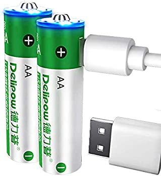 2-Pack Delipow AA 1.5V 2800 mWh USB Rechargeable Batteries