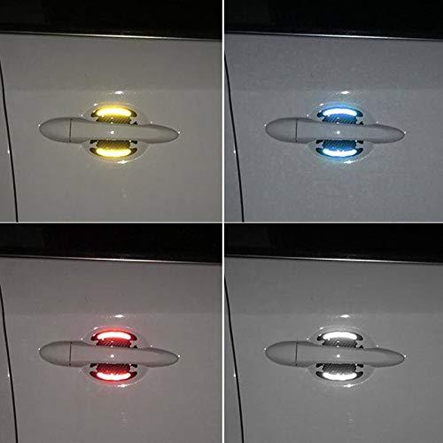 4pcs Car Reflective Sticker Door Handle Door Bowl Protection (Red)