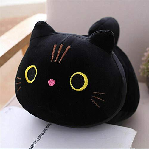 I3C Coussin en peluche en forme de chat - Poupée mignonne - Cadeau d'anniversaire pour une utilisation personnelle à la maison et au bureau - Noir