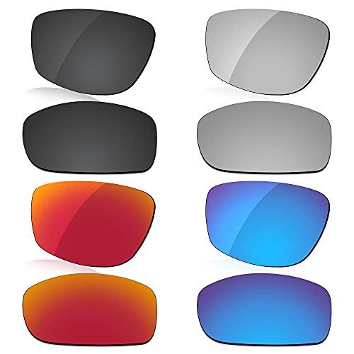 LenzReborn Reemplazo de lente polarizada para Arnette Quick Draw AN4178 Sunglass - Más opciones, Negro oscuro + gris plateado + rojo fuego + azul hielo, Talla única