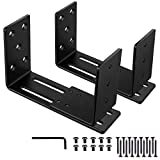 Adjustable Door Barricade Brackets (2pcs)-Drop Open Bar Holder for Security Door Reinforcement Steel U Bracket for outswing and inswing Doors or Gates