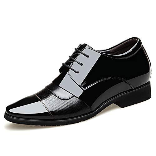 SAIPULIN spits lakleer geperst splitgewricht 6 cm onzichtbare hoogte antislip schoen (voor het aantrekken en snoeren) voor heren
