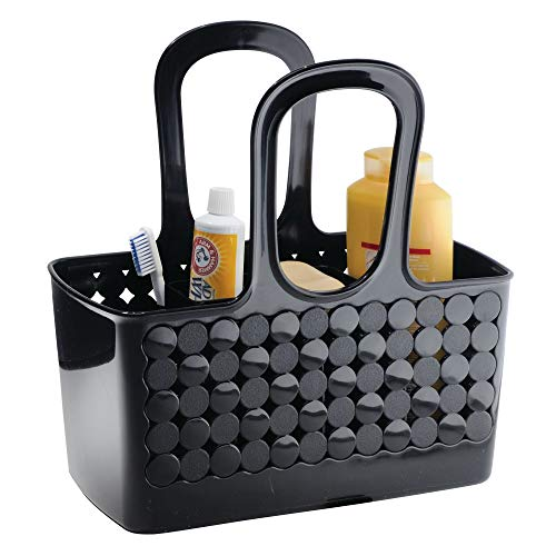 iDesign Orbz Plastic Bathroom Shower Tote Small Divided College Dorm Shower Caddy for Shampoo, Conditioner, Soap, Cosmetics, Beauty Products, Black