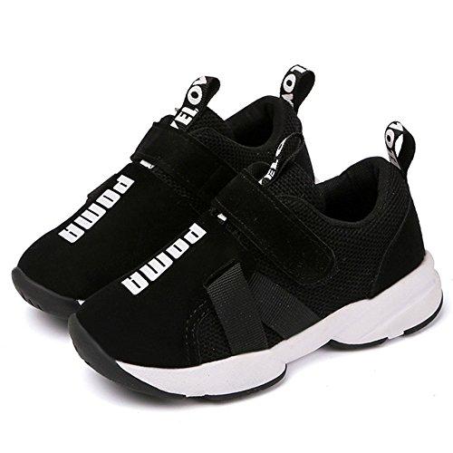 Daclay Zapatos niños Deportivo Transpirable y Transpirable con Parte Superior de Cuero cómoda con Zapatillas Velcro niña Sneakers (28 EU, Negro)