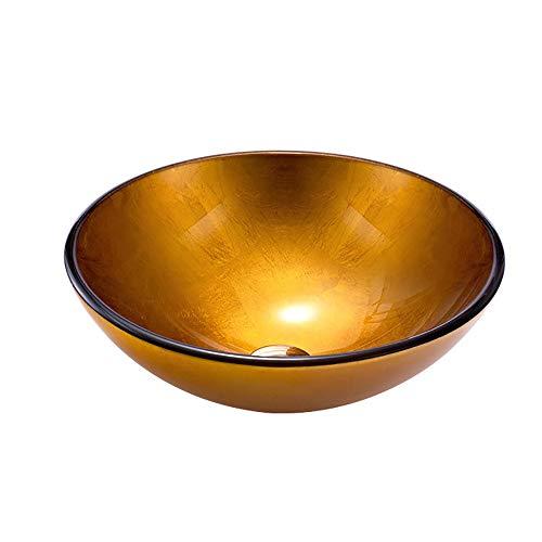 QJJML GlasspüLe, Gold Orange Rundes Badezimmer Kreatives Design Waschbecken,A