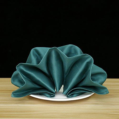 ZHFC satin de coton fleur ou solides case serviette tissu en verre hôtel restaurant serviettes de tissu conditionneur water square 50 * 50 cm, 56 * 56cm 1 bloc,vert noirâtre,56 * 56cm