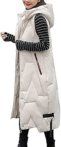 SKYWPOJU Damska kamizelka puchowa z kapturem-zimowa lekka długa,wąska kamizelka,oversize bez rękawów przenośna kamizelka pikowana dla kobiet wiatroszczelne składane topy,kurtka z kapturem