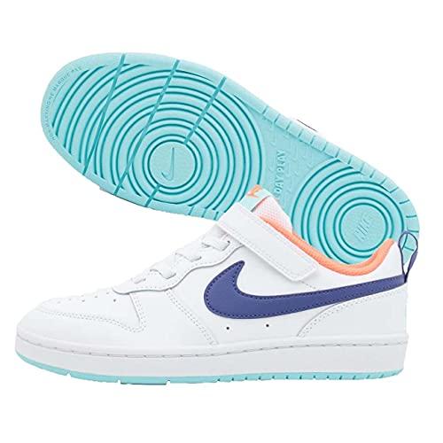Nike Court Borough Low 2 Sneaker Bambini, Bianco viola., 32 EU