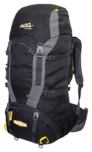 Tashev Sac de Trekking Alpin 60 Plus 10 Litres Noir - Jaune