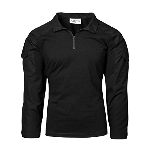 FLECKTEX® Combat Shirt Tropentarn 5FTD Flecktarn Schwarz Tactical Shirt Outdoor Kampfbluse Herren Langarm (Schwarz Rip Stop, XL)