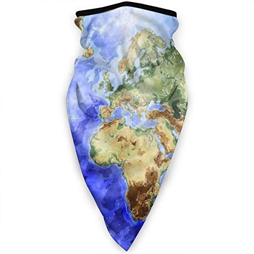 QUEMIN Mapa del Mundo Océano Azul Polaina para el cuello de la cara, bufanda cortavientos y transpirable, para ciclismo, pesca, senderismo, máscara solar para deportes al aire libre (plátano amarillo)