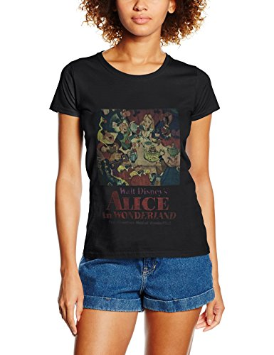 Disney Damen Alice In Wonderland Vintage Poster Top, Schwarz, M