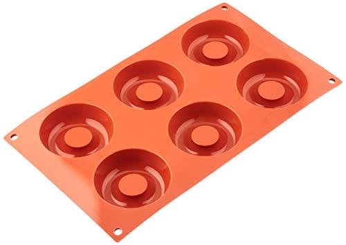 SF012 Molde de Silicona, 6 cavidades con Forma de savarin, Color Terracota