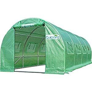 Quictent Upgraded 20'x10'x7' Portable Greenhouse 2 Doors 7 Crossbars Large Walk-in Heavy Duty Green Gardening Plant Hot Outdoor House +14 Stakes 4 Ropes (Green Cover)