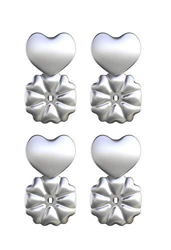 Magic Bax - Levantadores de pendientes, 2 pares de sujeciones para los pendientes chapadas en plata de ley, hipoalergénicos y ajustables