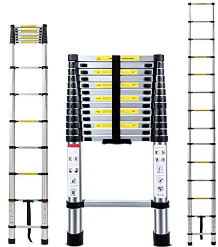 13.5FT Extra Strong Aluminum Telescoping Ladder, Newly Telescopic Extension Ladder, Strongest 430lbs...
