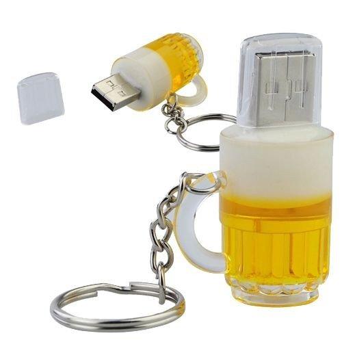 Bicchiere di Birra 8 GB - Beer Glass - Chiavetta Pendrive - Memoria Archiviazione dei Dati - USB Flash Pen Drive Memory Stick - Giallo e Bianco