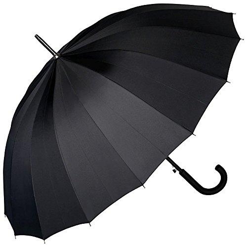 VON LILIENFELD Regenschirm Auf-Automatik Damen Herren Gross Stockschirm Stabil Devon Schwarz