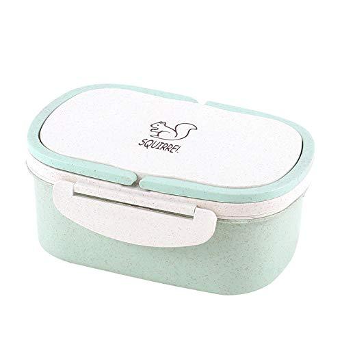 caja de almuerzo electrica Compartimento portátil con tapa Fiambrera portátil de doble capa para niños Recipiente de comida para adultos Platos de comida 1000ML Doble capa Verde Estados Unidos