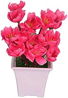 PARADISE ENTERPRISES s Artificial Dark Pink Flower Plant with Pot for Home and Office Decor (8x8x17, cms)
