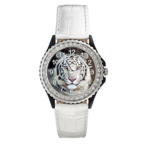 Timest - Tigre Blanco - Reloj del Cuero Blanco para Mujer con piedrecillas Analógico Cuarzo CSG0126w