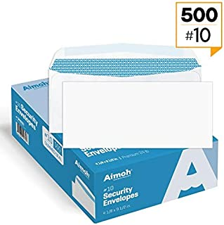 500#10 Security White Envelopes - GUMMED Seal, Windowless Design, Premium Security Tint Pattern for Secure Mailing - Size 4-1/8 x 9-1/2 Inches - White - 24 LB - 500 Count (34020)