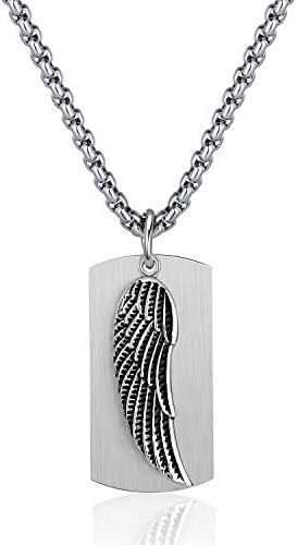 P Blake 2PS Stainless Steel Angel Wing Pendant Necklace for Men Women Boys Dog tag Charm with product image